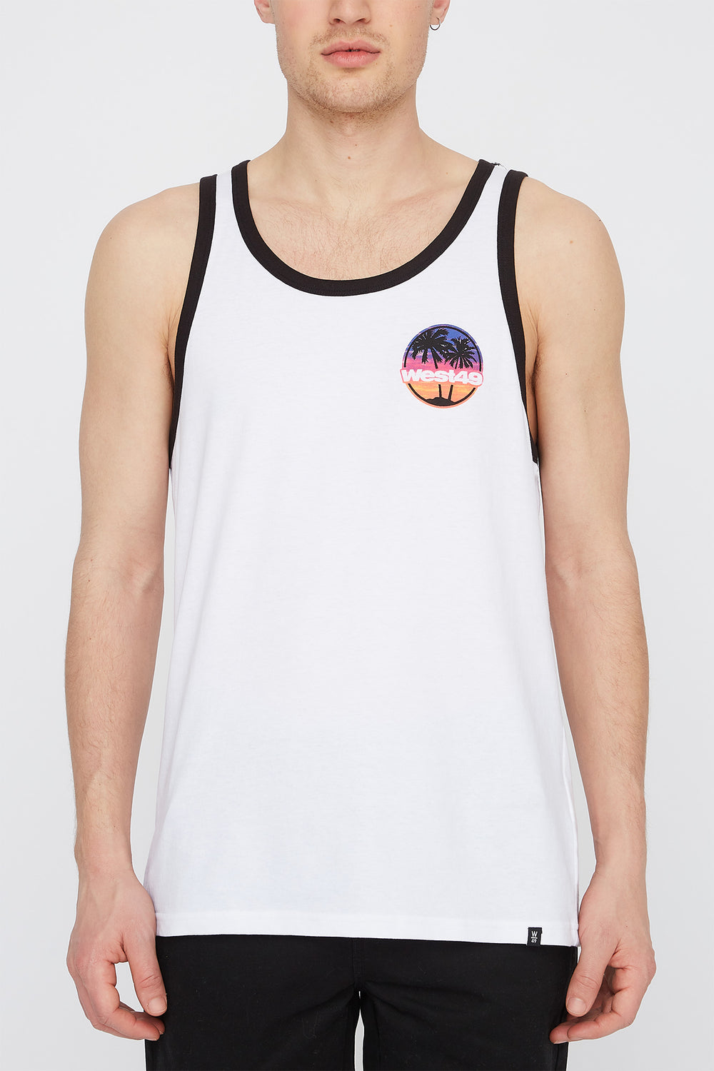 West49 Mens Sunset Logo Tank Top White