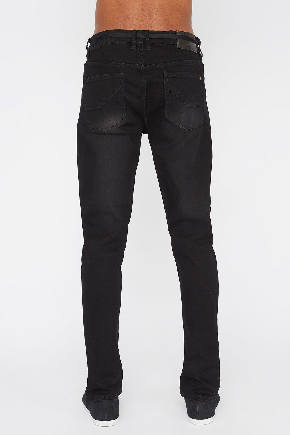Zoo York Mens Distressed Black Stretch Skinny Jeans Solid Black
