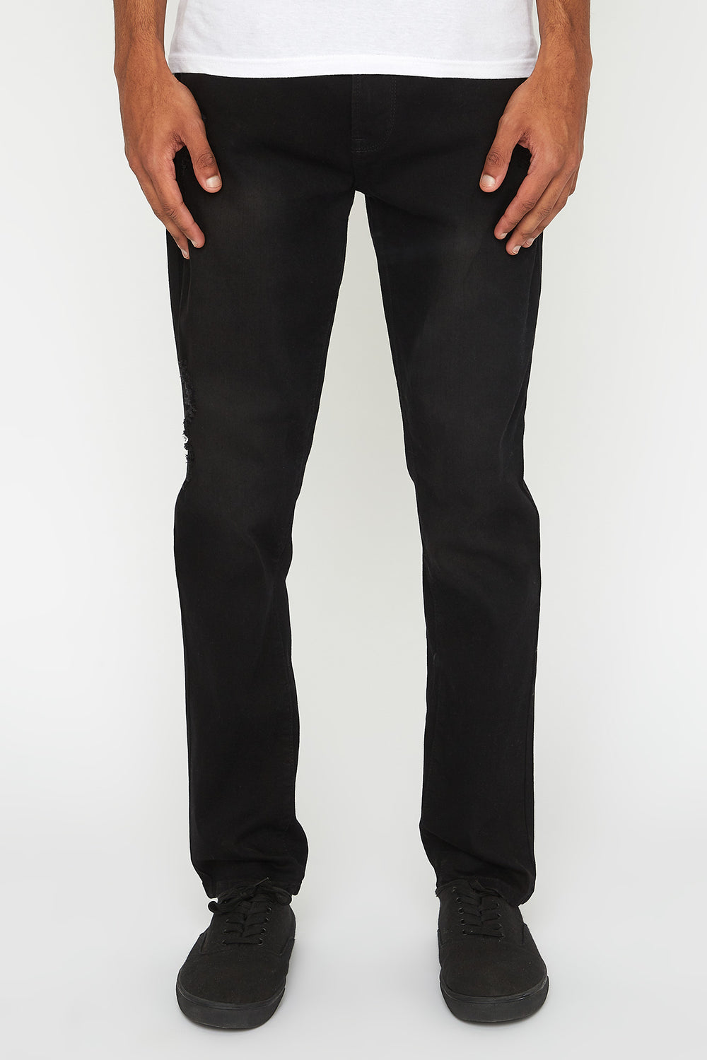 Zoo York Mens Distressed Black Stretch Slim Jeans Solid Black