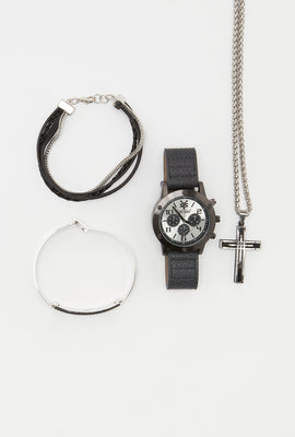 Zoo York Mens Black and Silver Tone Watch
