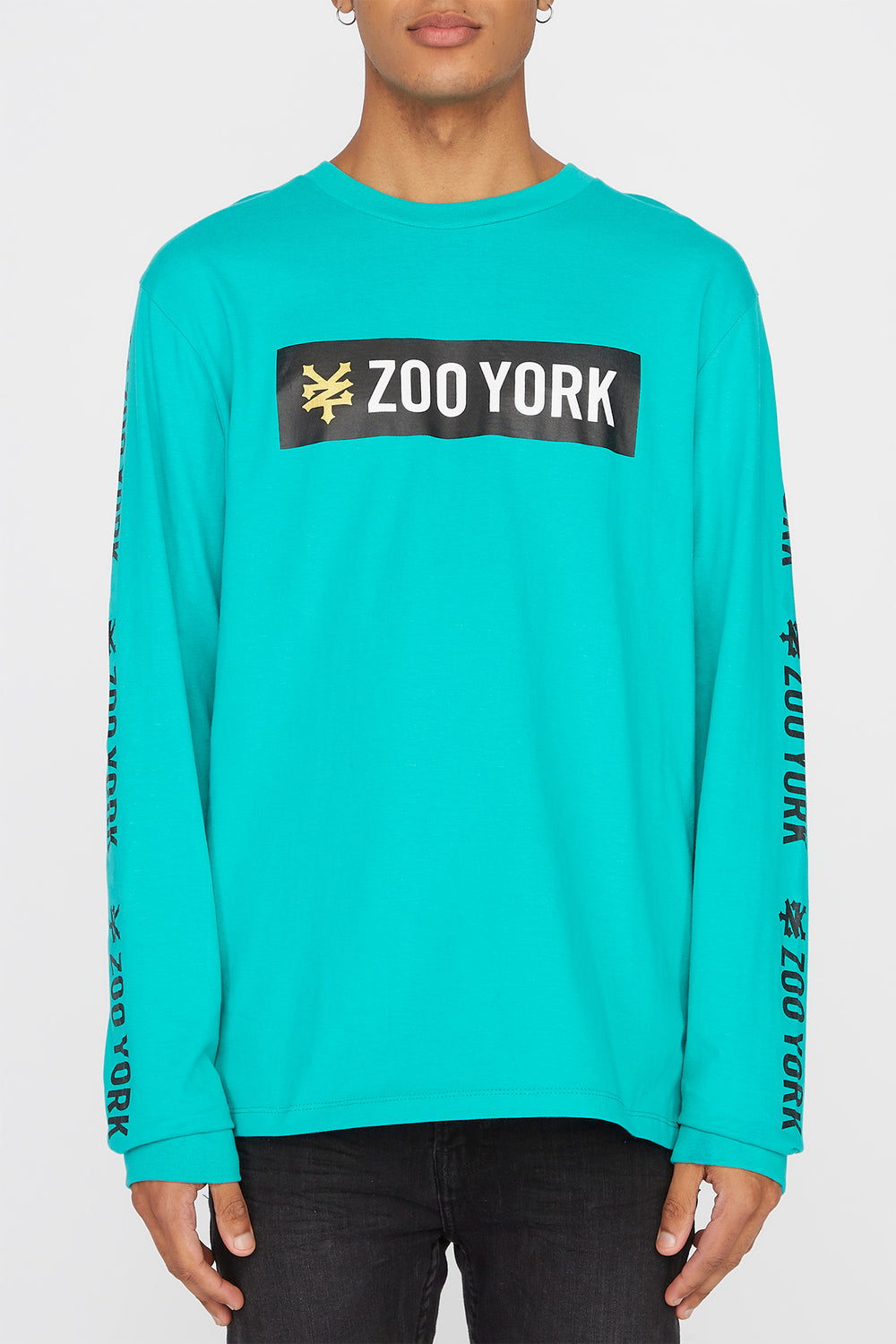 Zoo York Mens Classic Logo Long Sleeve Shirt Turquoise