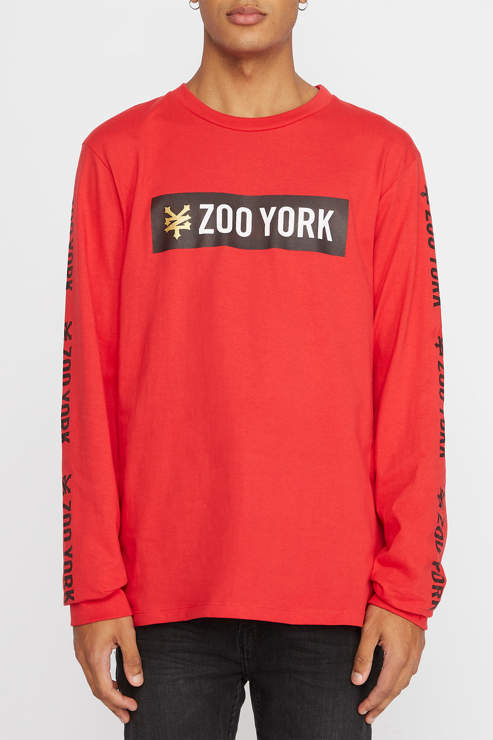 Zoo York Mens Classic Logo Long Sleeve Shirt Red