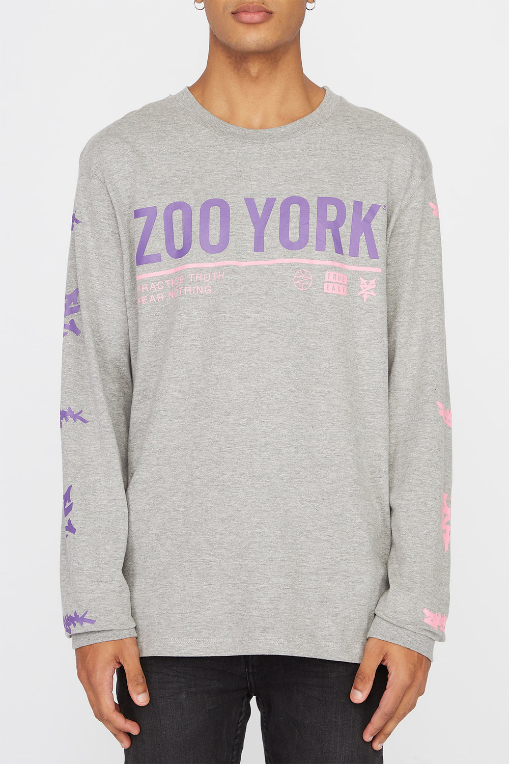 Zoo York Mens Practice Truth Long Sleeve Shirt Heather Grey