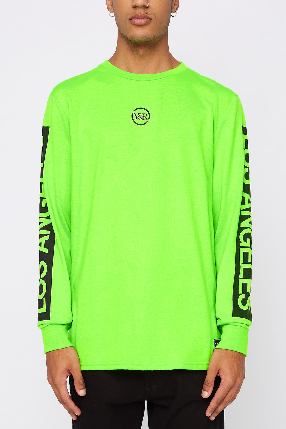 Young & Reckless Mens Neon Logo Long Sleeve Shirt Neon Green