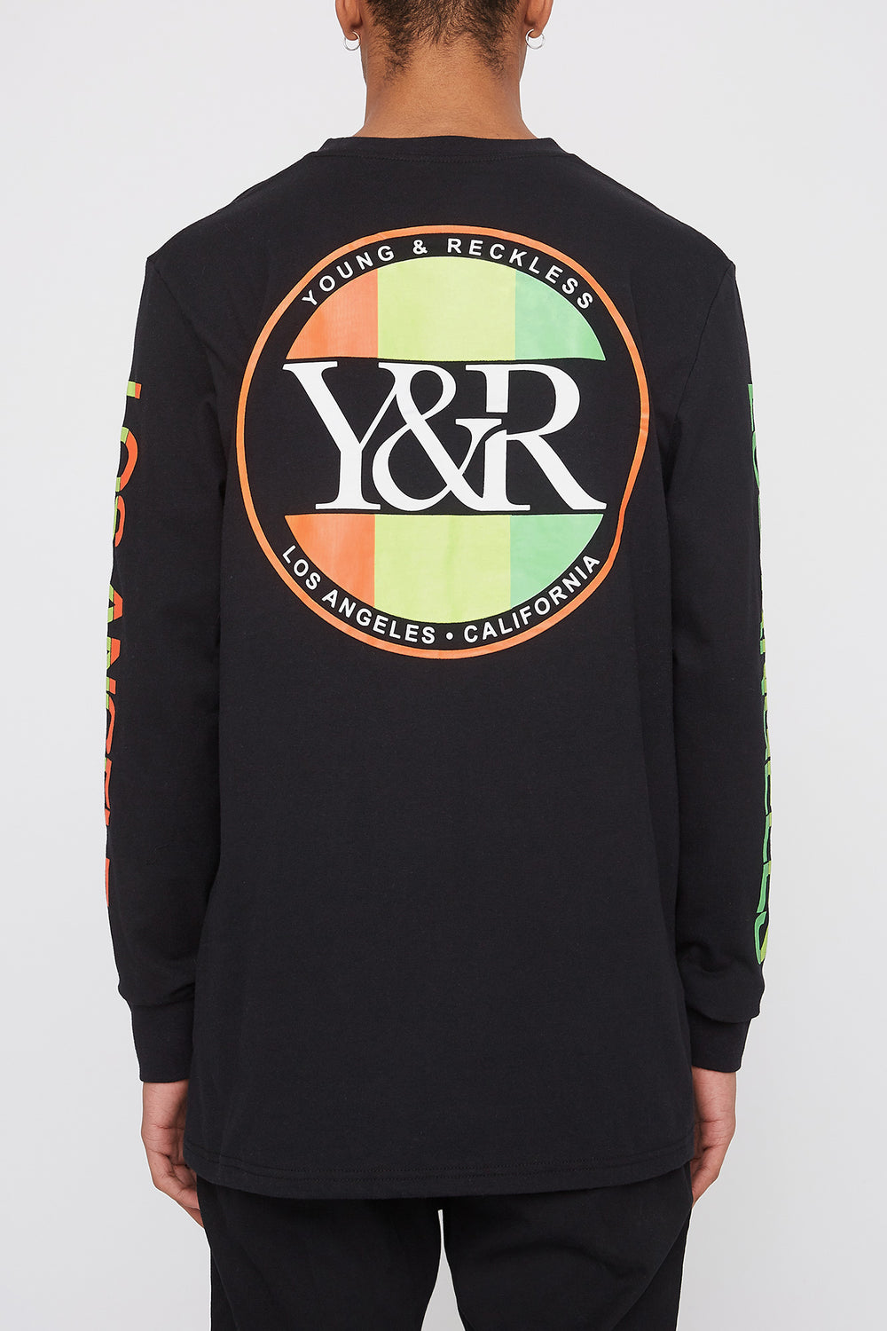Young & Reckless Mens Neon Circle Logo Long Sleeve Shirt Black