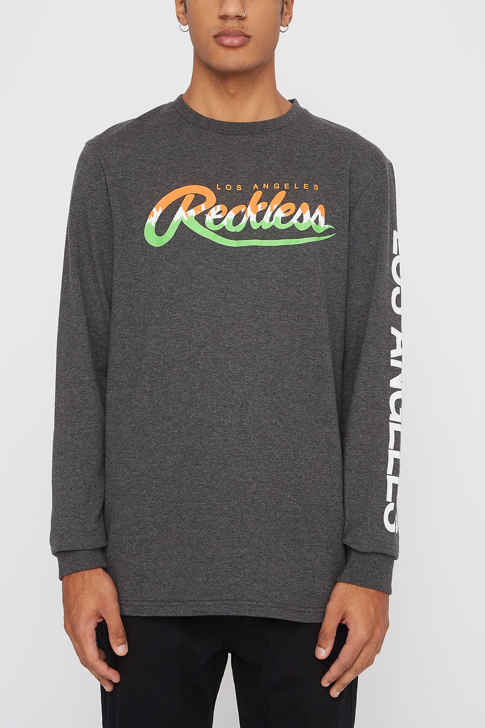 Young & Reckless Mens Neon Logo Long Sleeve Shirt Charcoal