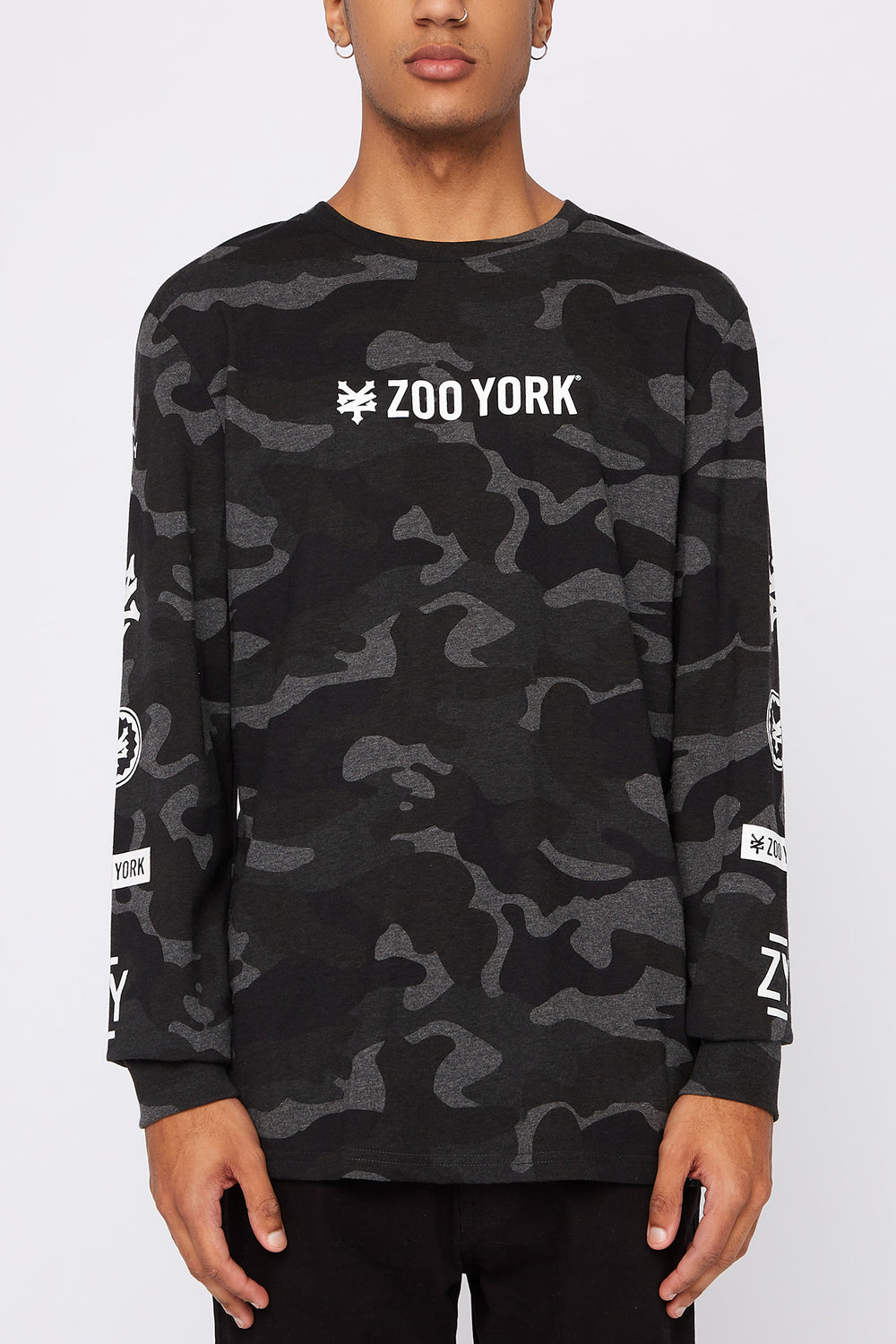 Zoo York Mens Camo Long Sleeve Shirt Black with White