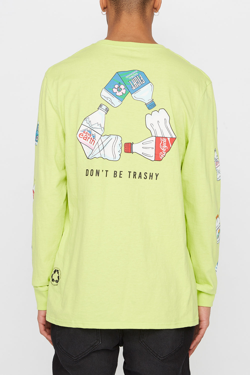 REPREVE® Mens Eco-Friendly Long Sleeve Shirt Neon Green