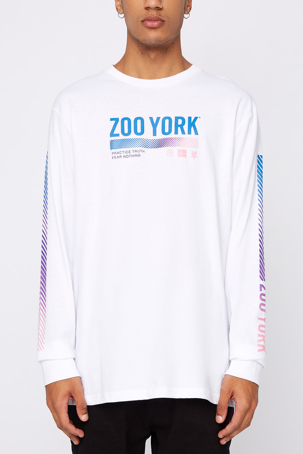 Zoo York Mens Practice Truth Long Sleeve Shirt White