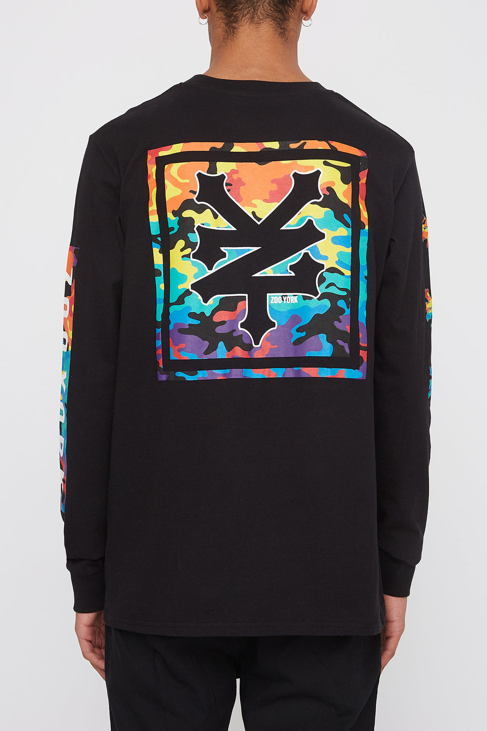 Zoo York Mens Rainbow Camo Logo Long Sleeve Shirt Black