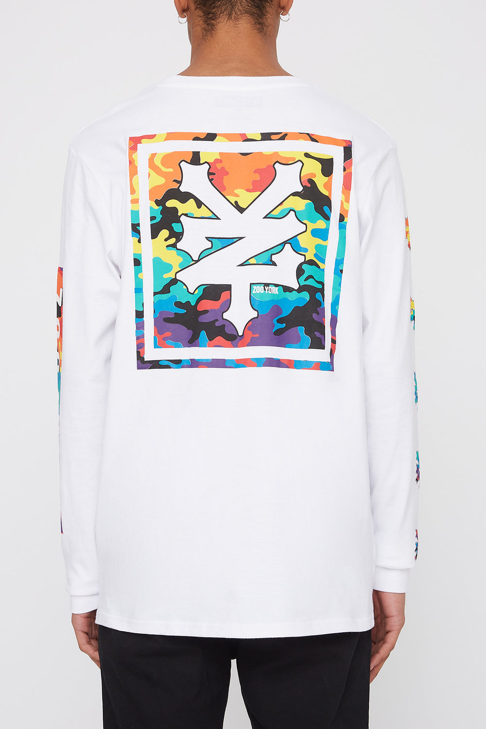 Zoo York Mens Rainbow Camo Logo Long Sleeve Shirt White