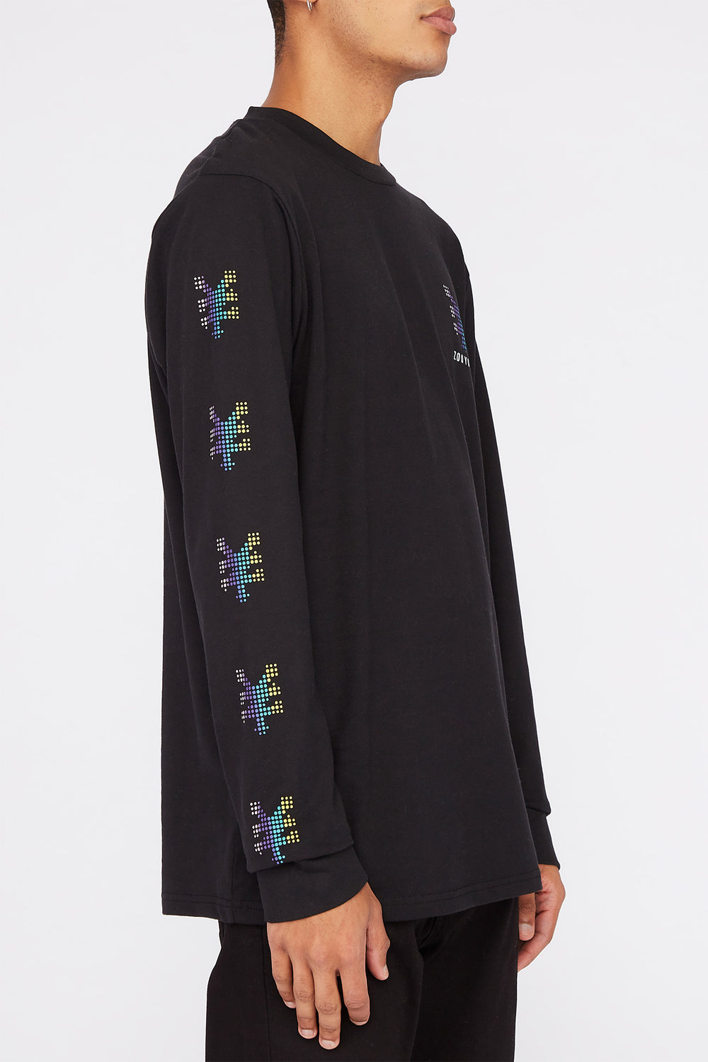 Zoo York Mens Rainbow Dots Long Sleeve Shirt Black