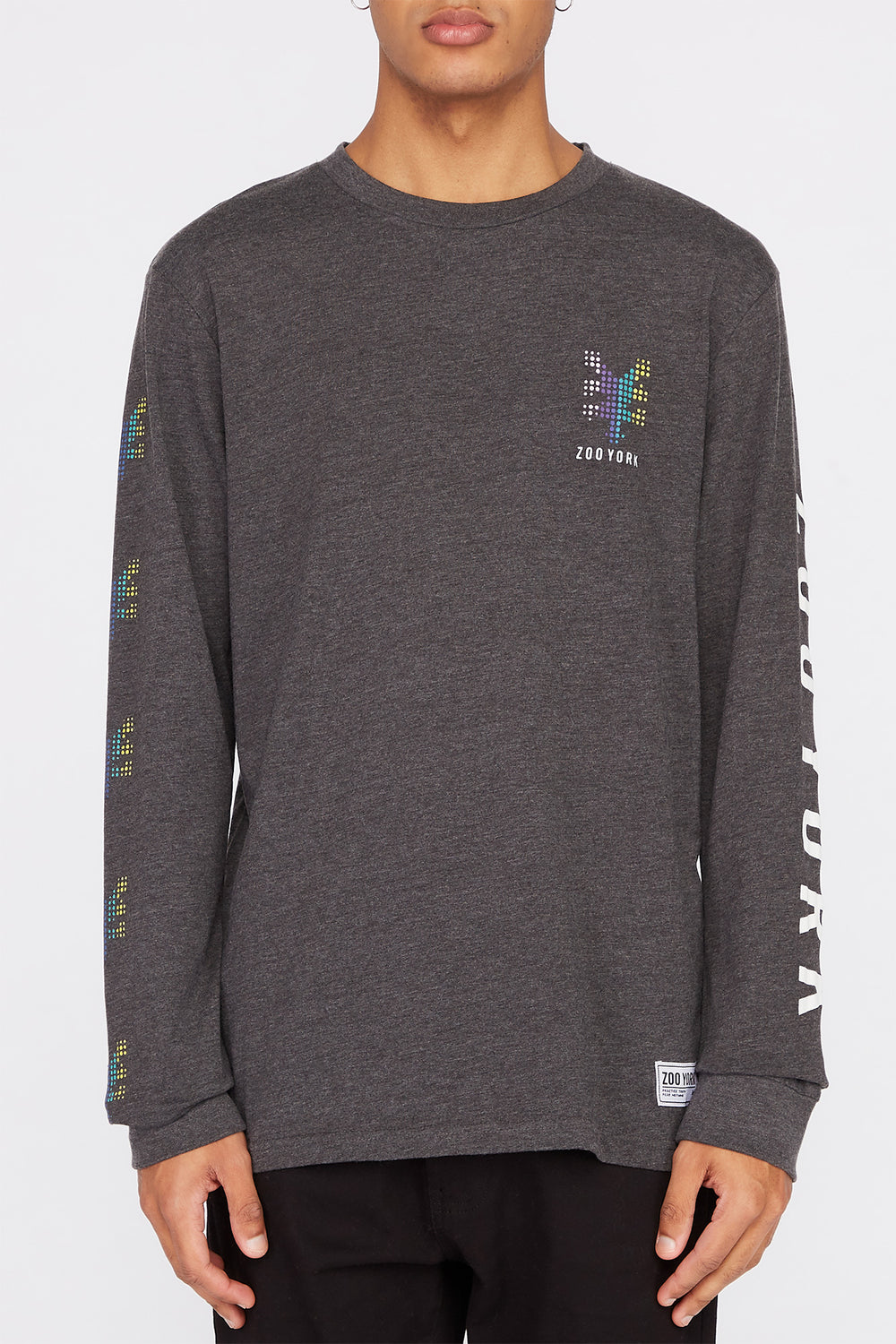 Zoo York Mens Rainbow Dots Long Sleeve Shirt Charcoal