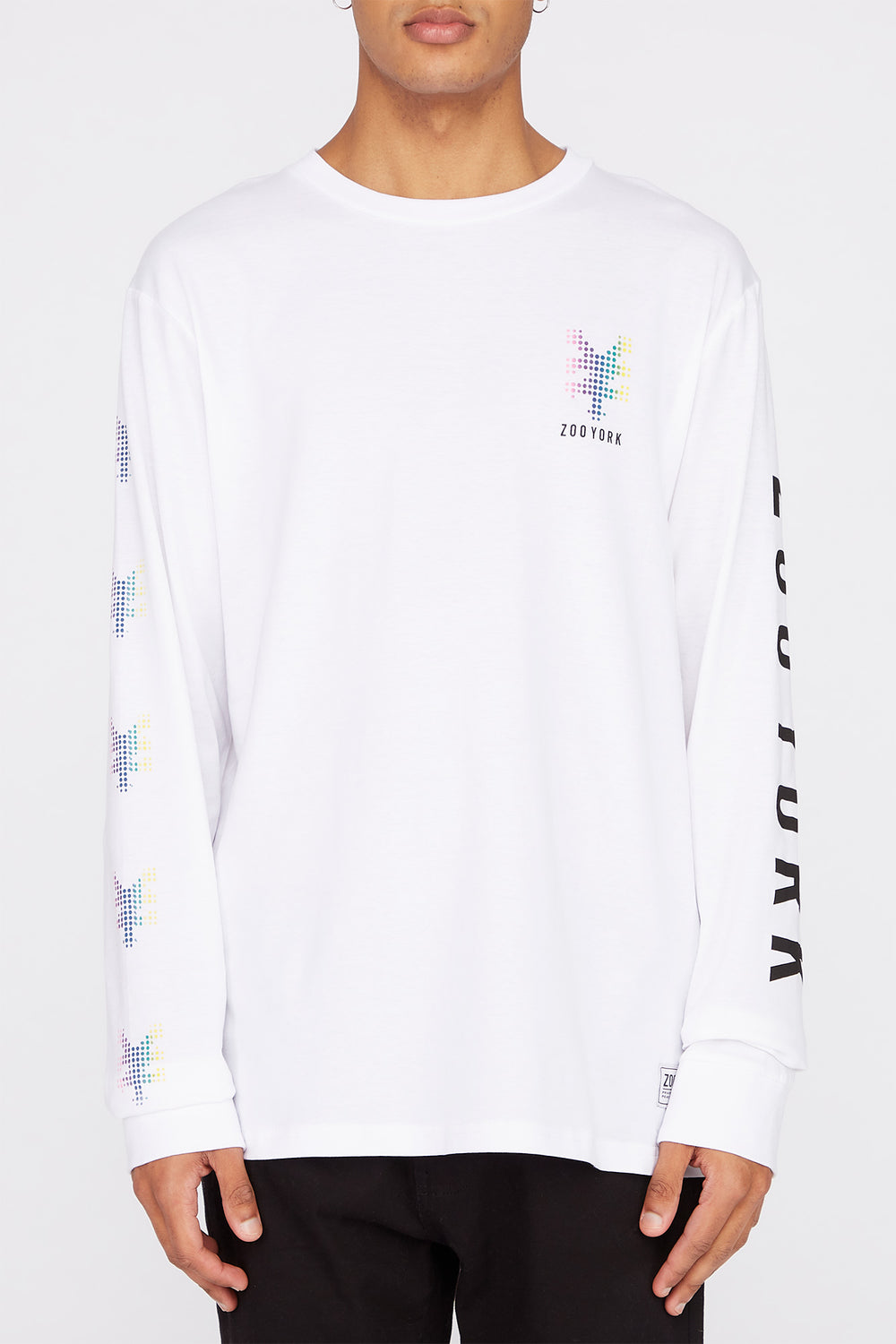 Zoo York Mens Rainbow Dots Long Sleeve Shirt White