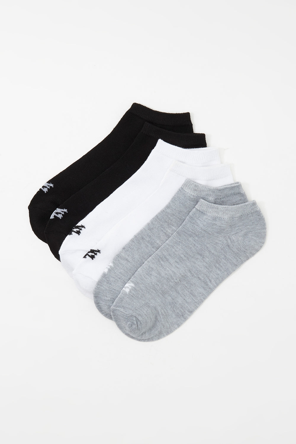Zoo York Mens 6-Pack Ankle Socks Black with White