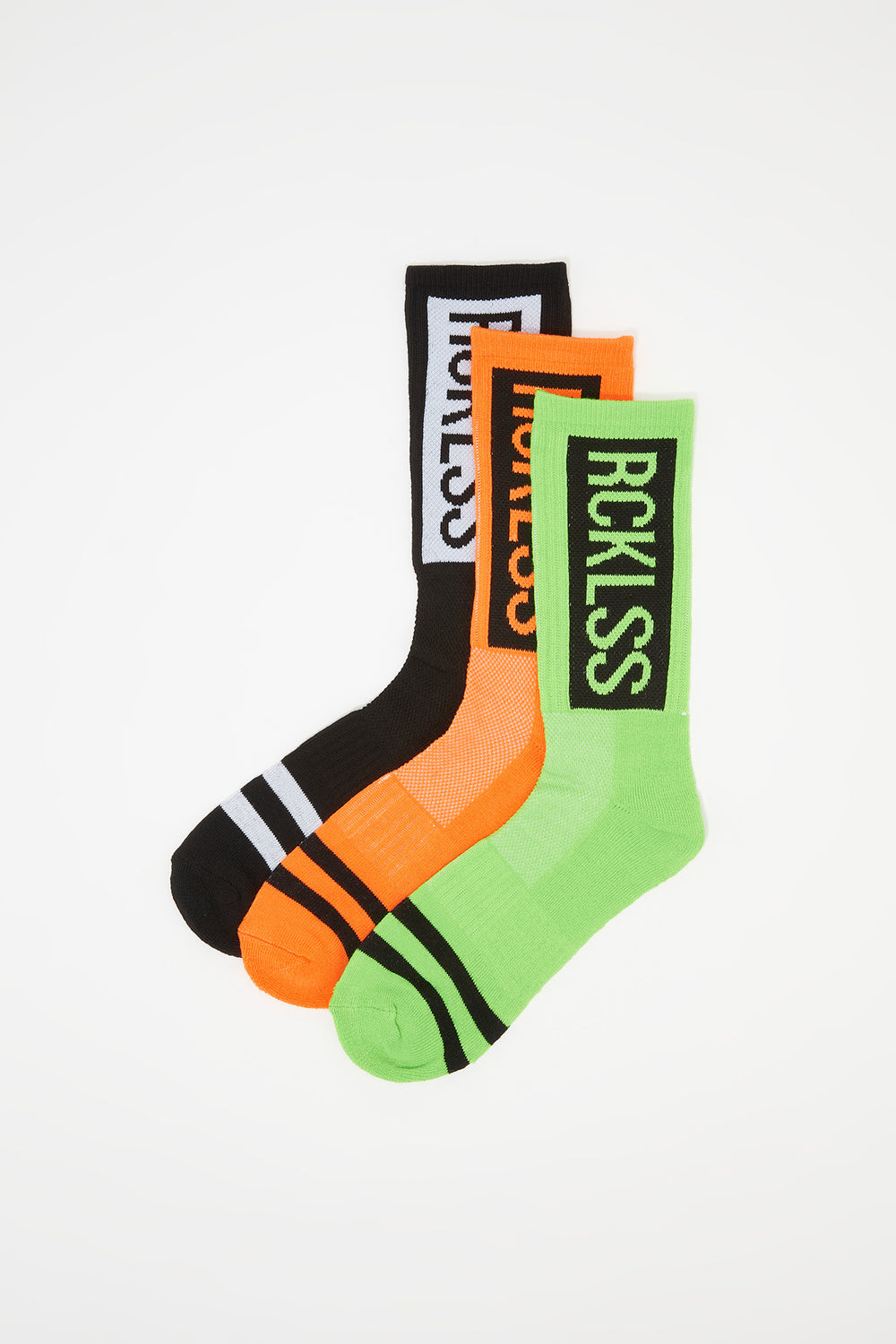 Young & Reckless Mens 3-Pack Neon Crew Socks Black
