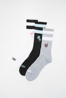Zoo York Mens Tropical Crew Socks (3 Pairs)