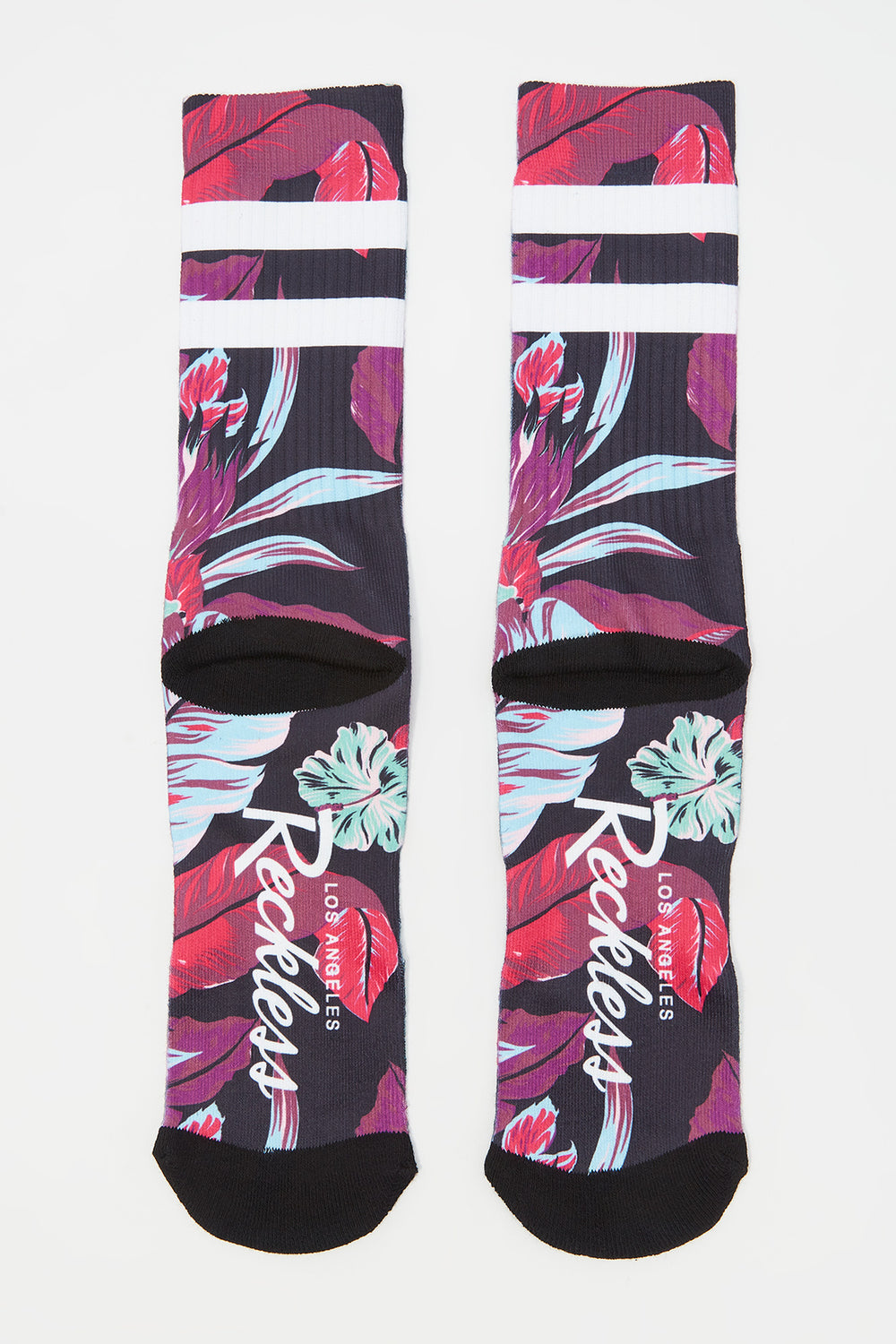 Young & Reckless Mens Neon Floral Crew Socks Multi