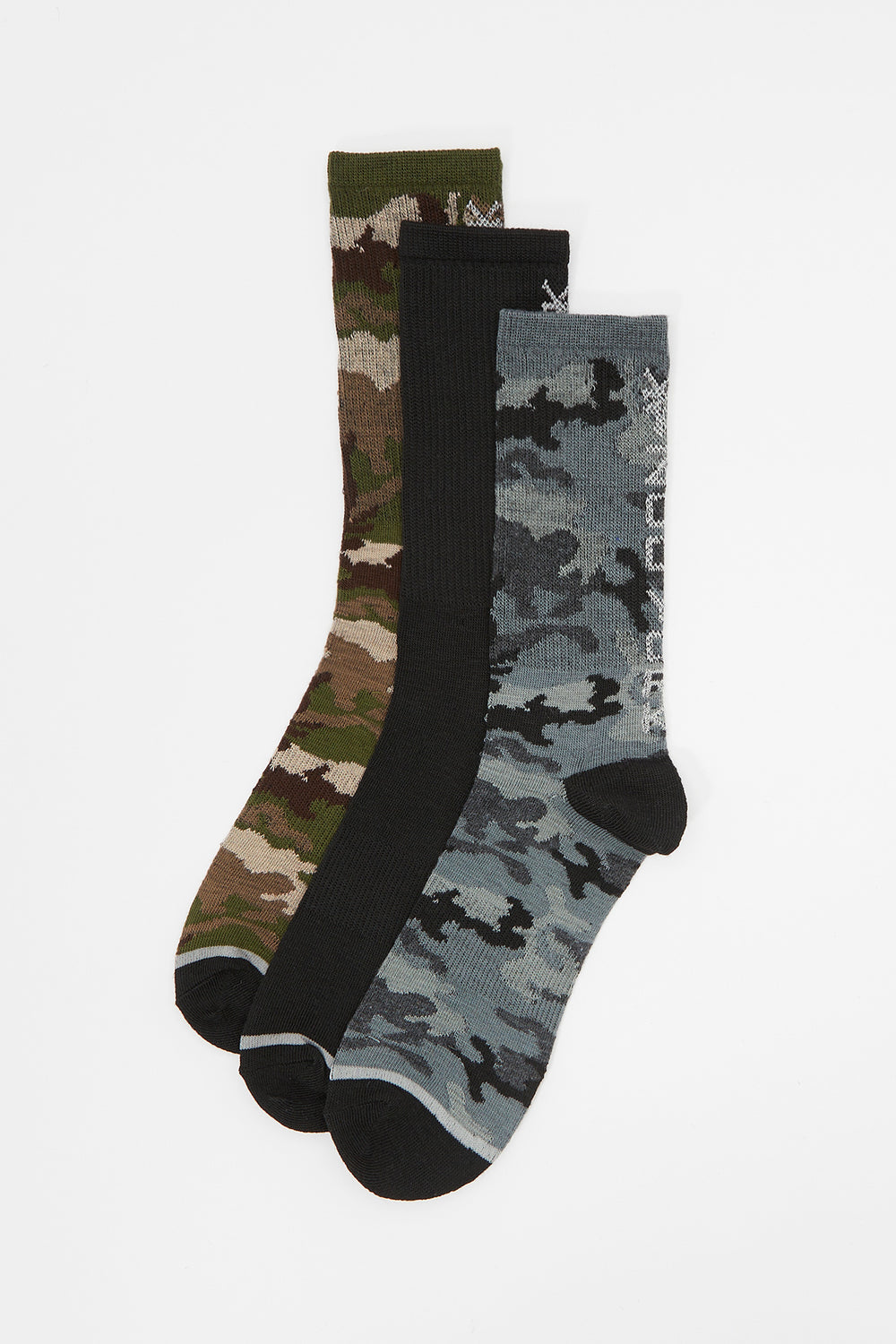 Zoo York Mens Camo Crew Socks (3-Pack) Multi