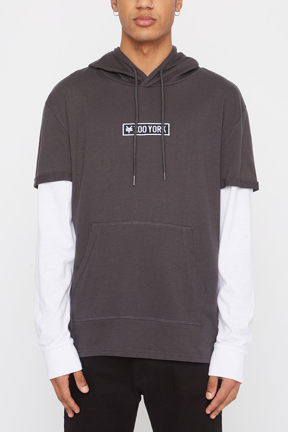 Zoo York Mens Patch Logo Hooded Long Sleeve Shirt Charcoal