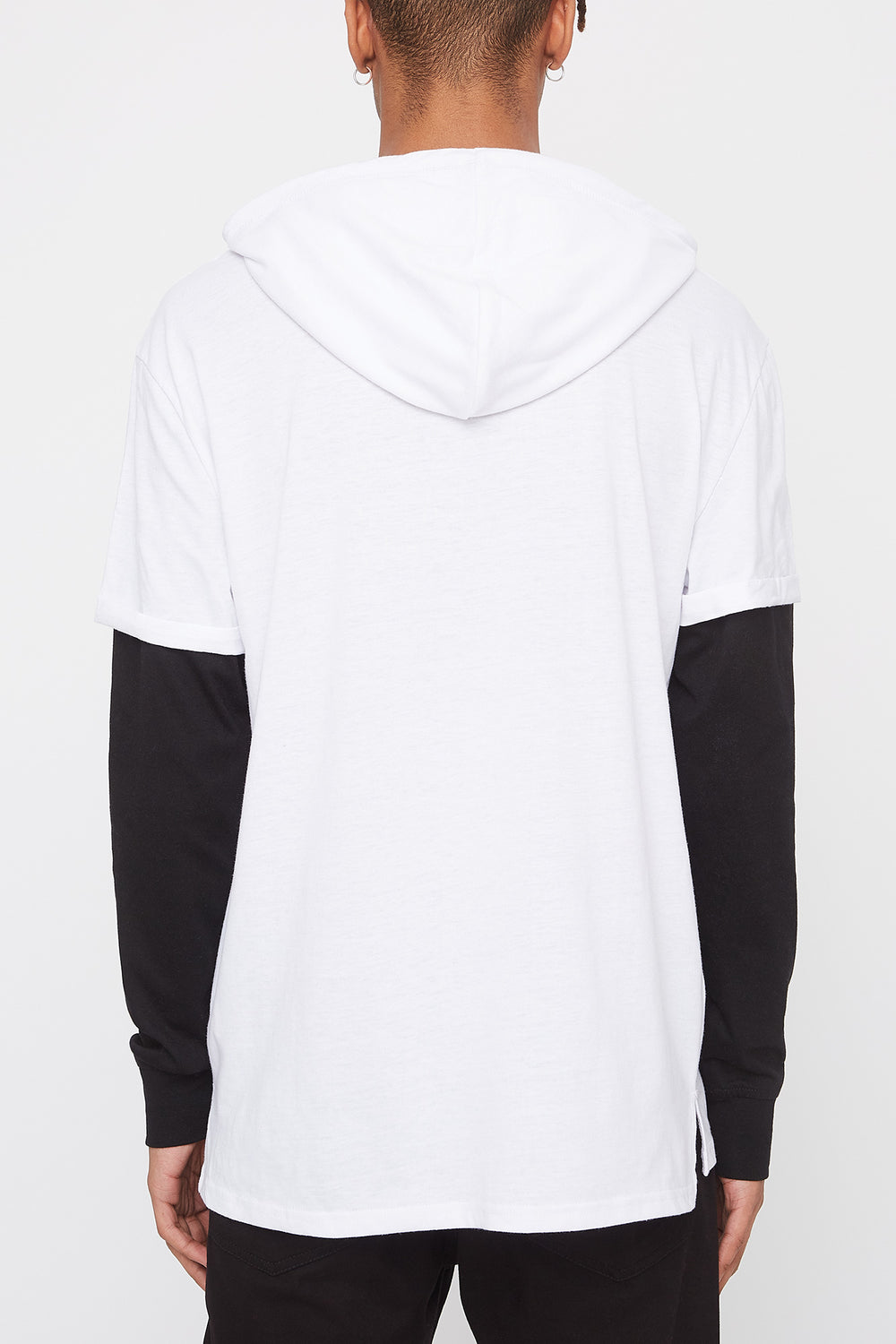 Zoo York Mens Patch Logo Hooded Long Sleeve Shirt White