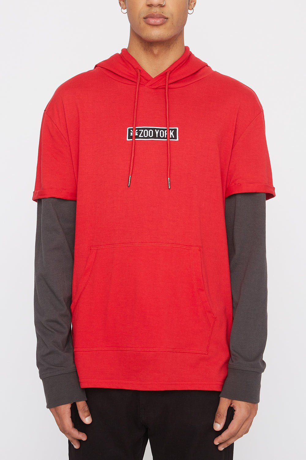 Zoo York Mens Patch Logo Hooded Long Sleeve Shirt Red