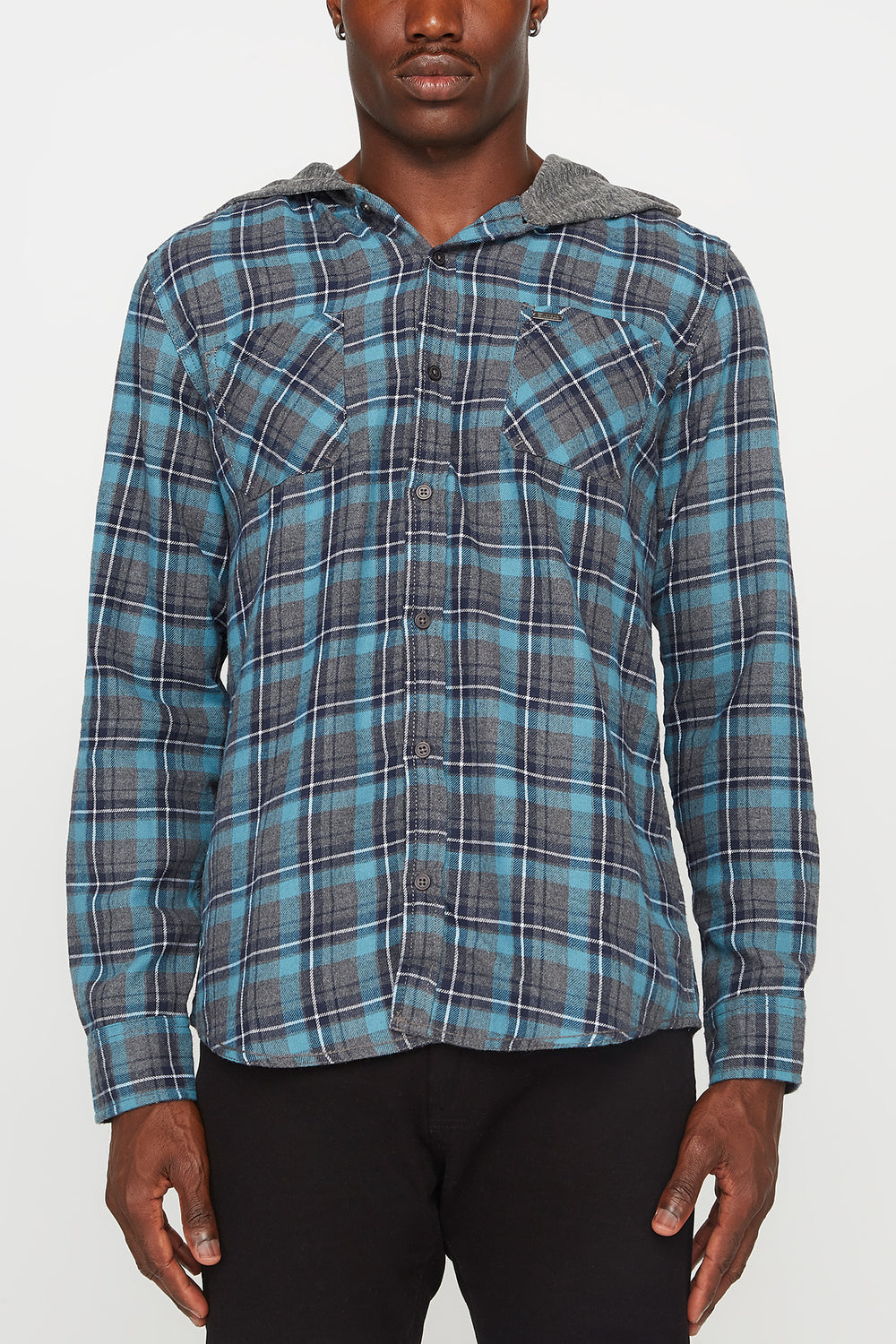 Mens Plaid Hooded Button-Up Blue