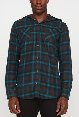 Mens Flannel Hooded Button-Up