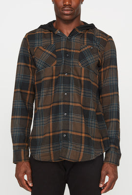 Mens Flannel 2-Pocket Hooded Button-Up