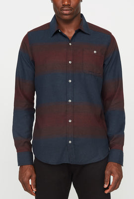 Mens Flannel Plaid 1 Pocket Button-Up Shirt