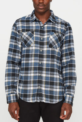 Mens Flannel 2 Pocket Plaid Button-Up Shirt
