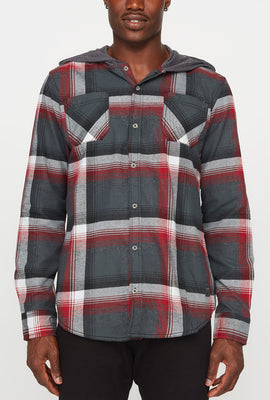 Mens Plaid Flannel 2-Pocket Hooded Button-Up