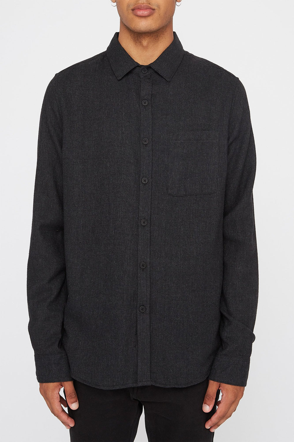 West49 Mens Flannel Button-Up Shirt Charcoal
