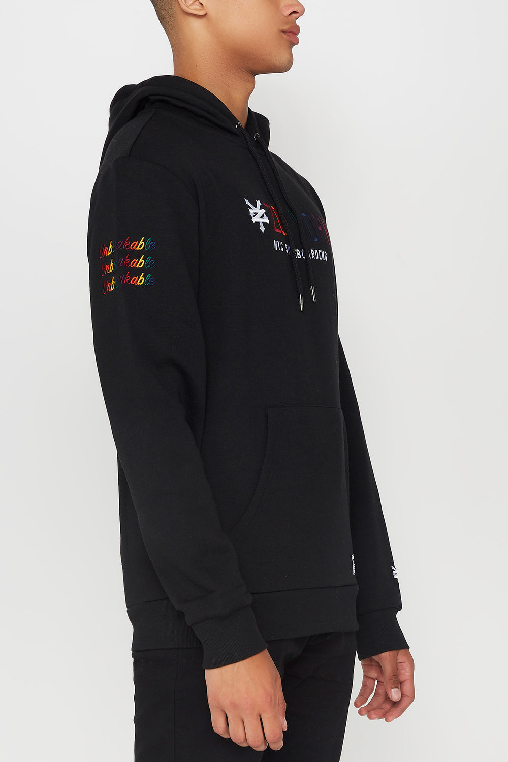 Zoo York Mens Rainbow Embroidery Hoodie Black