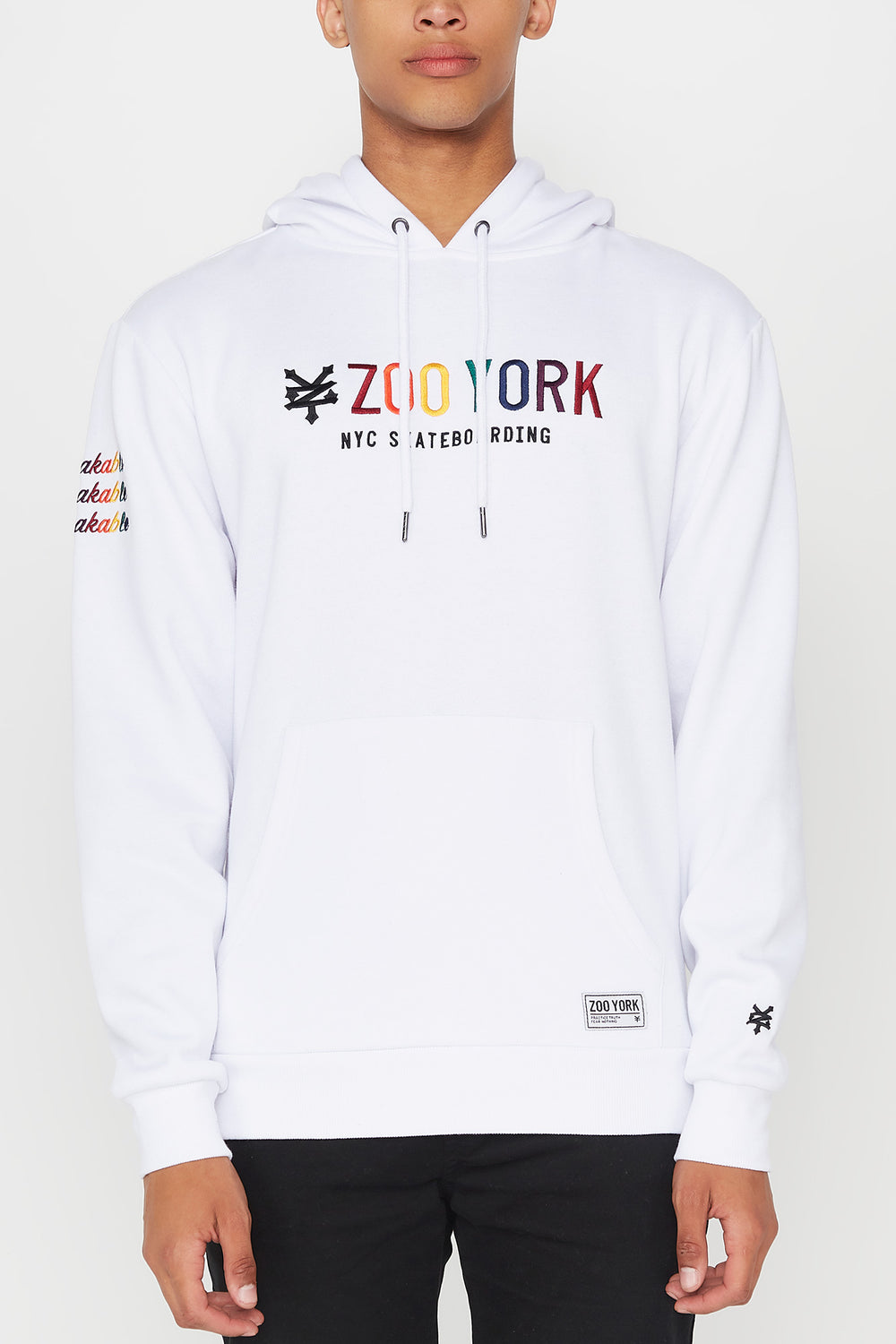 Zoo York Mens Rainbow Embroidery Hoodie White