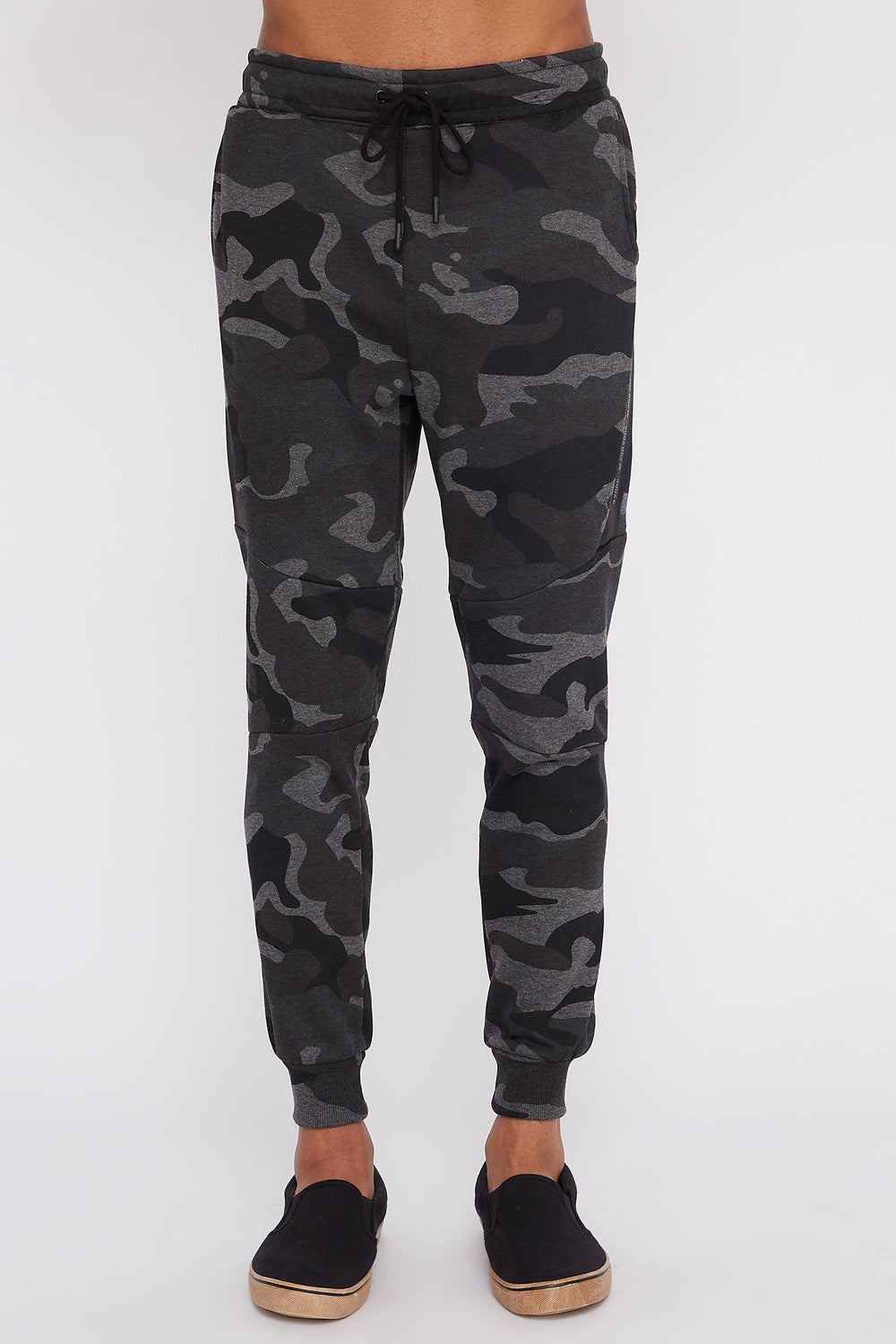 Zoo York Mens Camo Side Zipper Jogger Black with White
