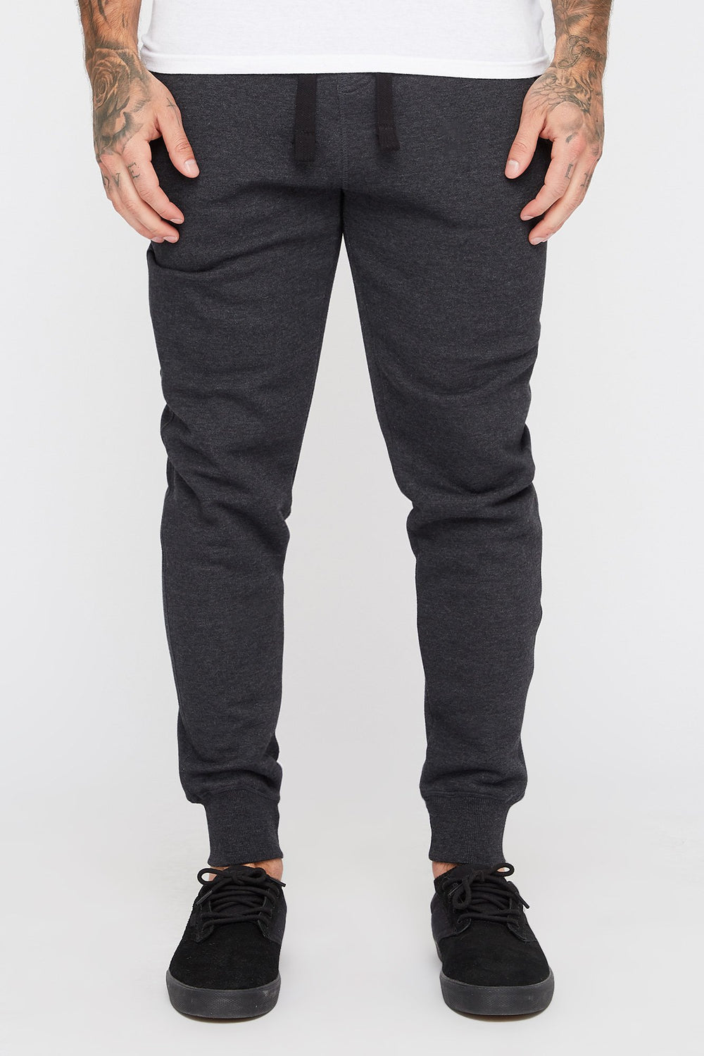 West49 Mens Solid Zip-Up Jogger Charcoal