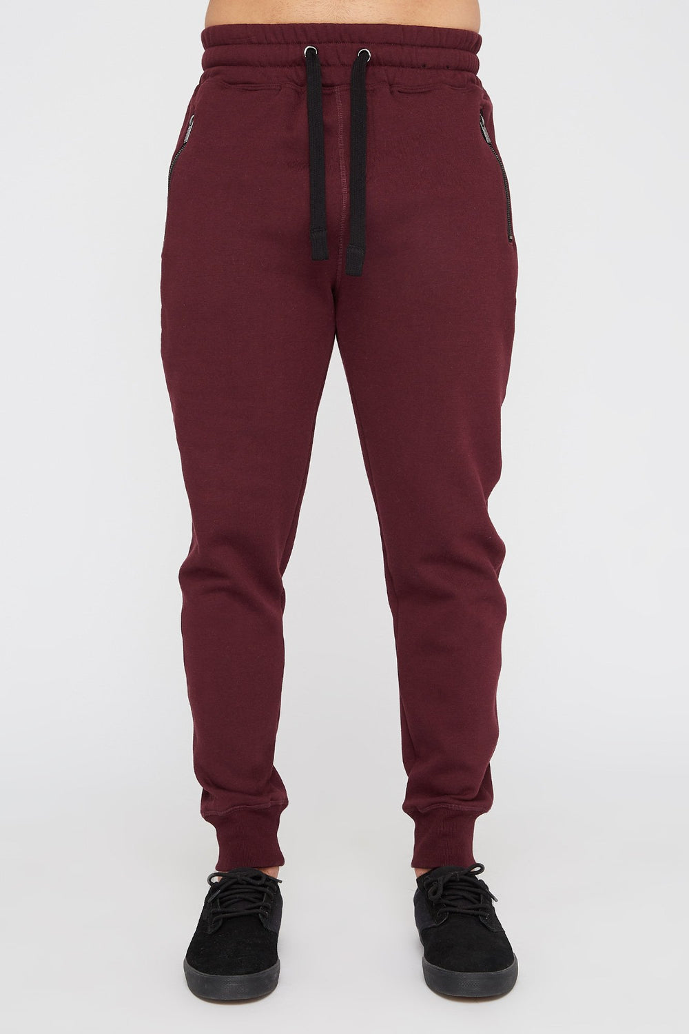 West49 Mens Solid Zip-Up Jogger Burgundy