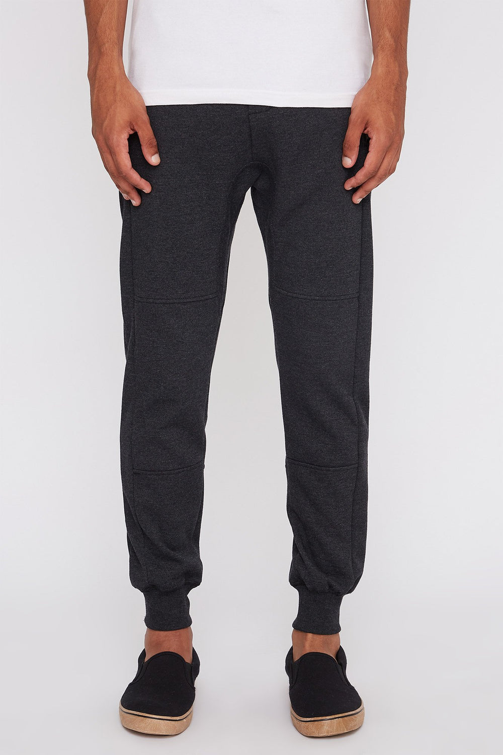 West49 Mens Textured Zip-Up Jogger Charcoal