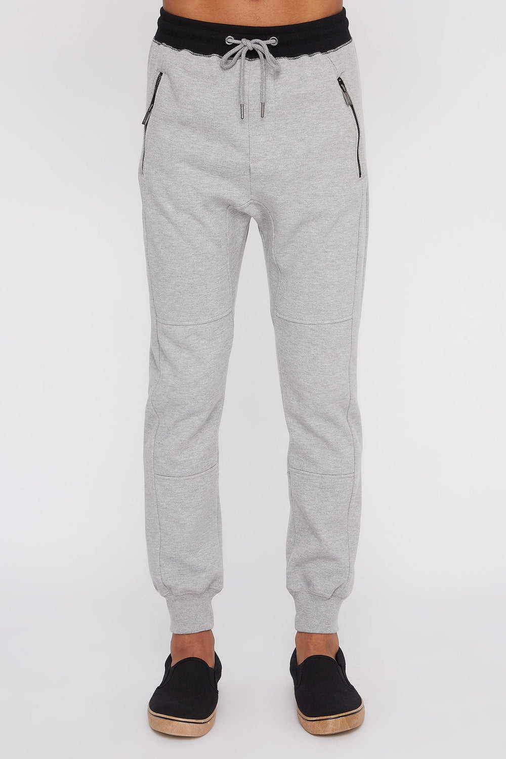 West49 Mens Textured Zip-Up Jogger Heather Grey