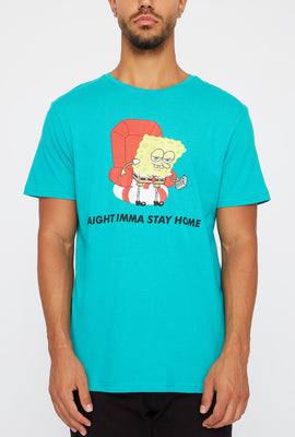 Mens Spongebob Stay At Home Graphic T-Shirt