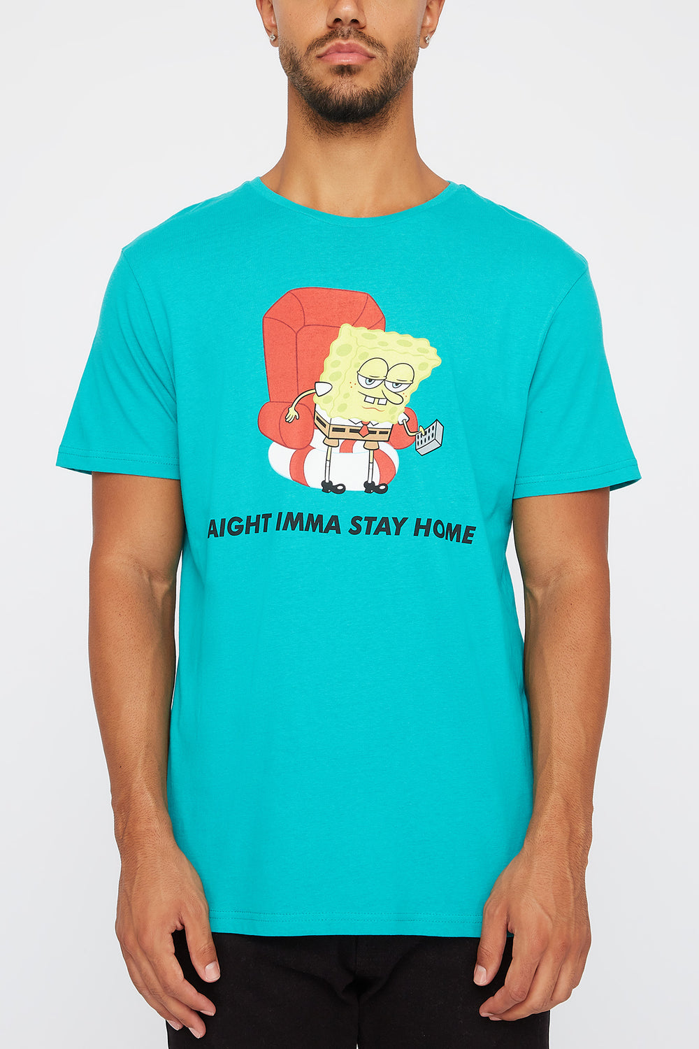 T-Shirt Imprimé SpongeBob Stay At Home Homme Turquoise