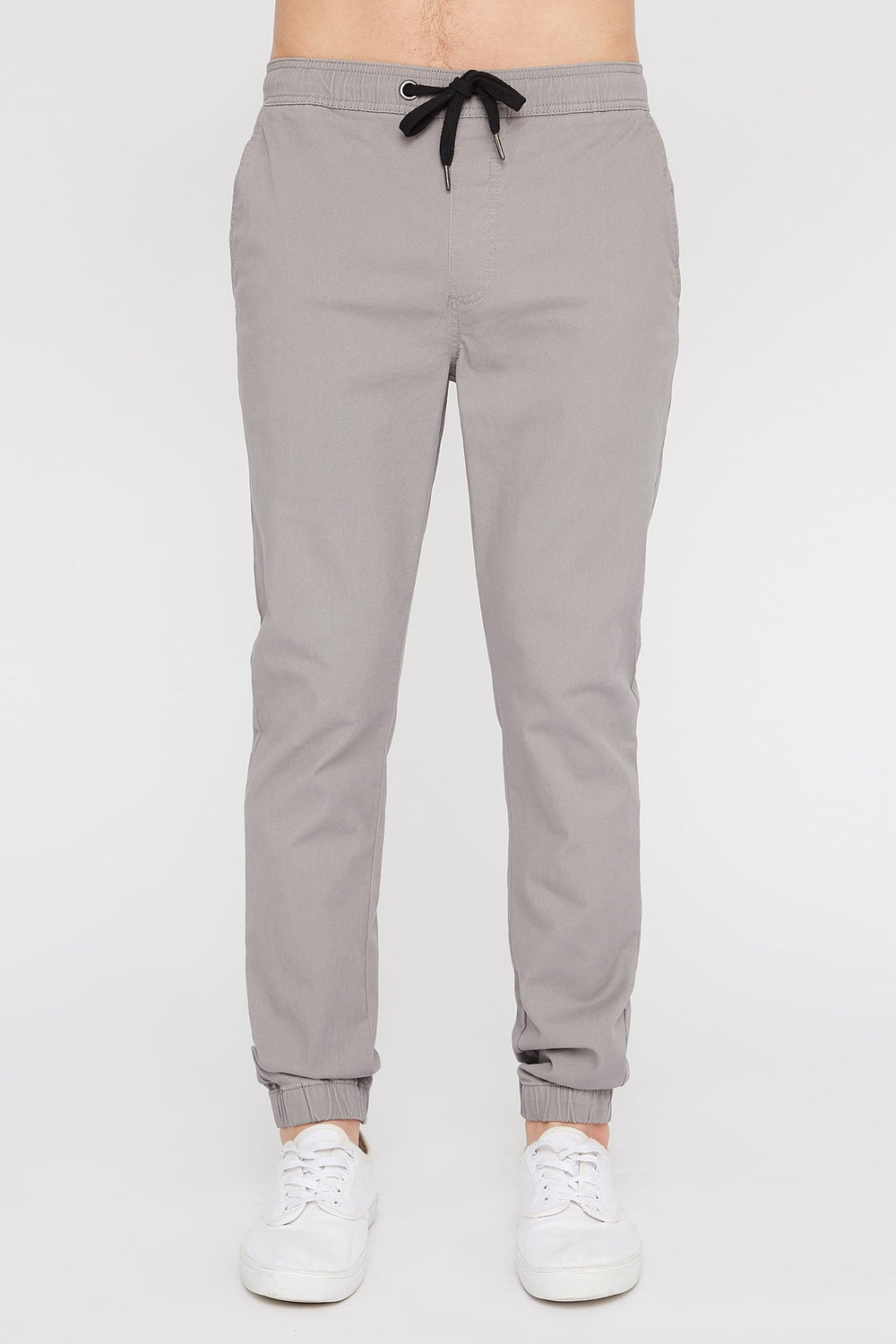 West49 Mens Solid Twill Basic Jogger Light Grey