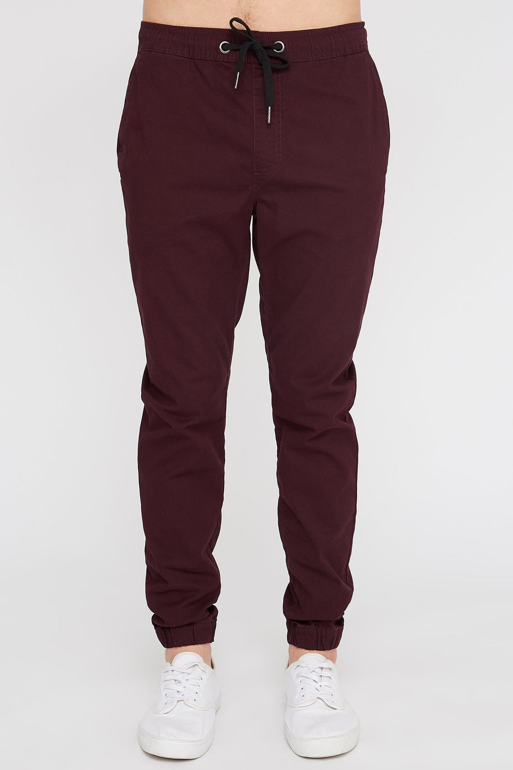 West49 Mens Solid Twill Basic Jogger Wine