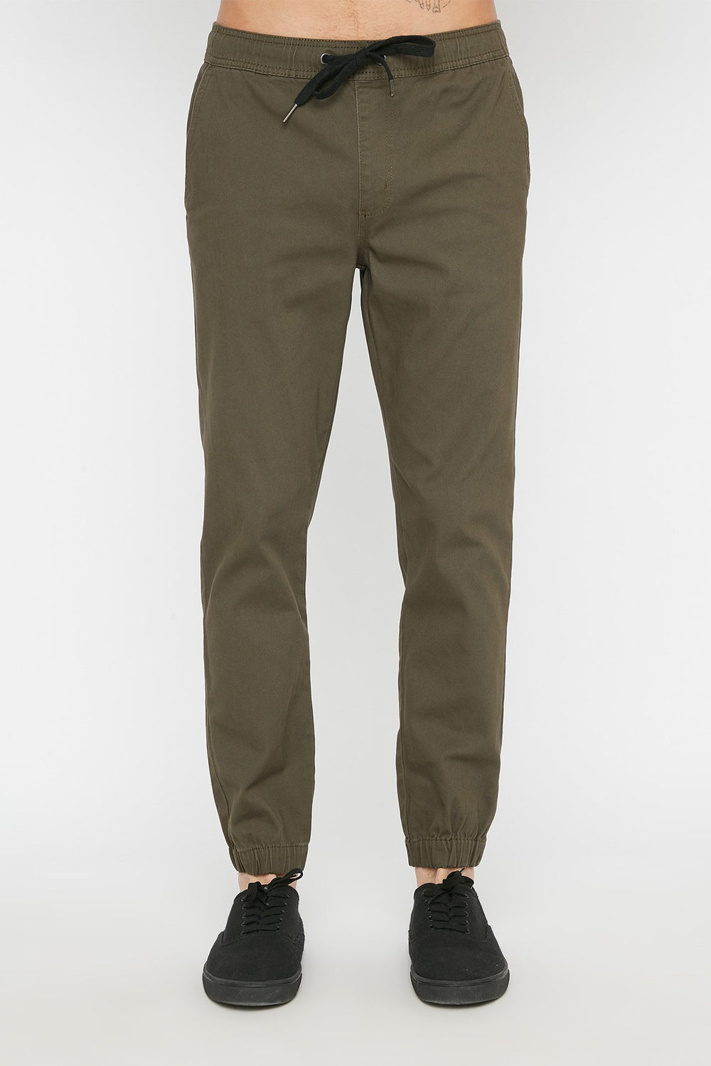 West49 Mens Solid Twill Basic Jogger Khaki