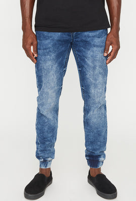 Mens Acid Wash Denim Jogger