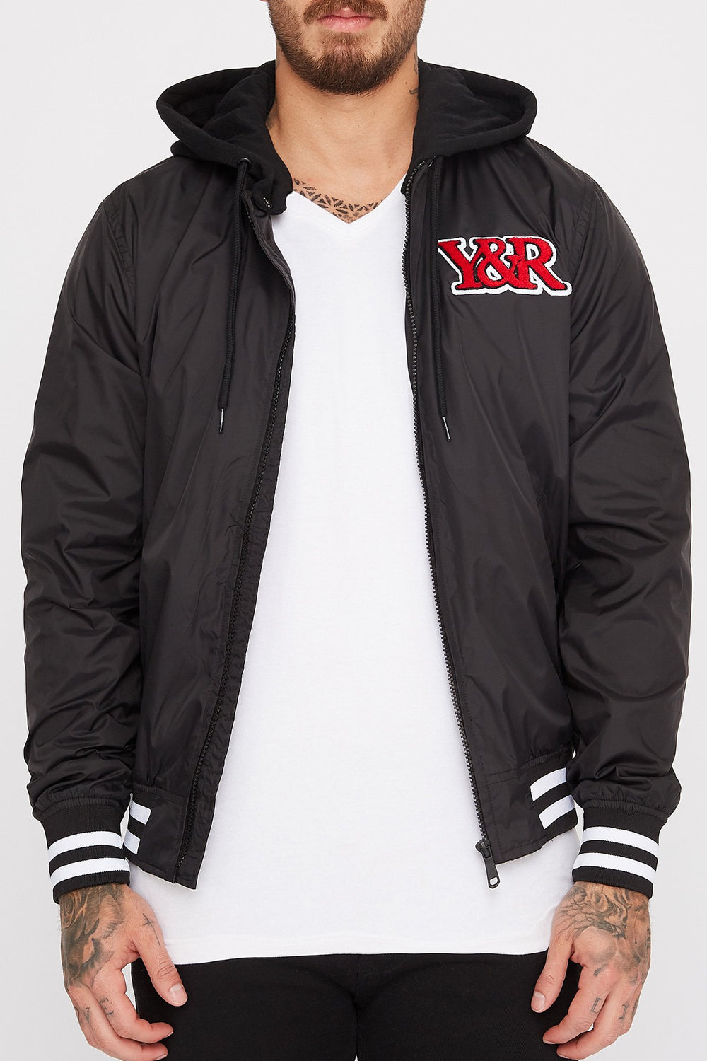 Young & Reckless Mens Bomber Logo Patch Jacket Black