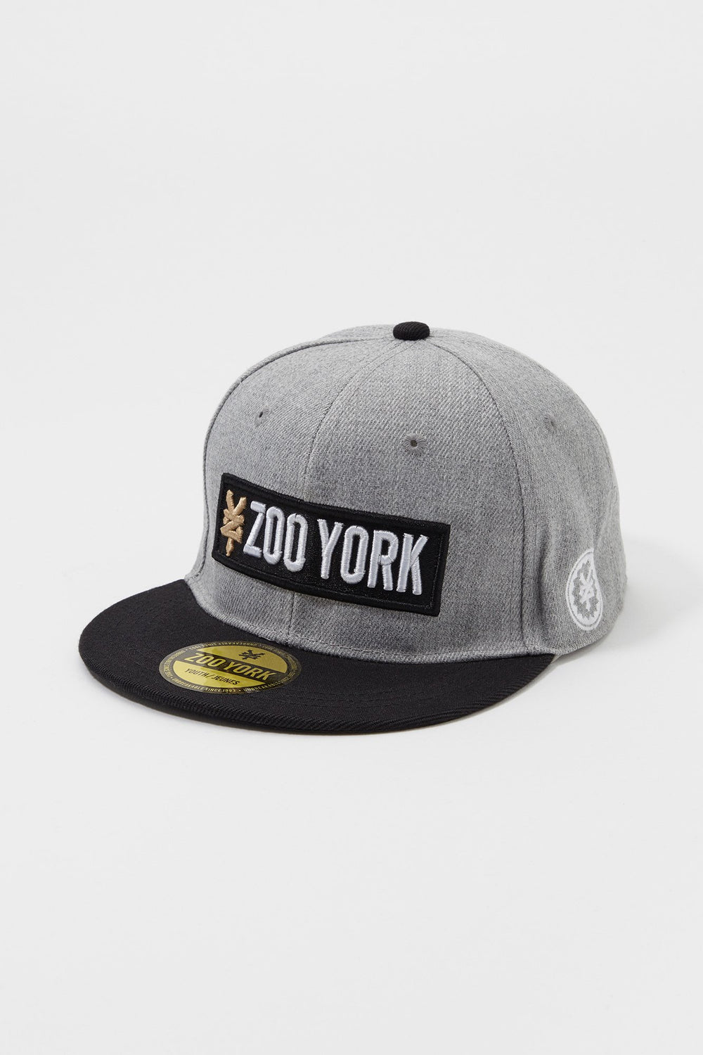 Zoo York Mens Box Logo Snapback Hat Heather Grey