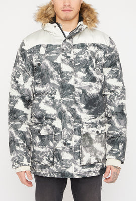 Snow Camo Polyfill Long Parka