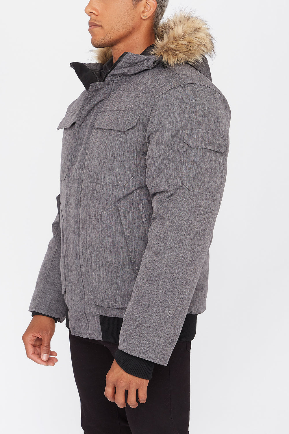 West49 Poly-Fill Bomber Jacket Charcoal